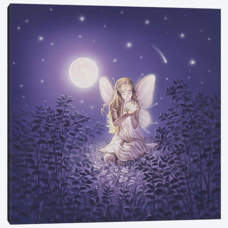 Girl With Night Flower Canvas Print #KRE52} by Kirk Reinert Canvas Art