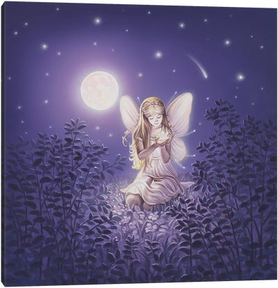Girl With Night Flower Canvas Art Print