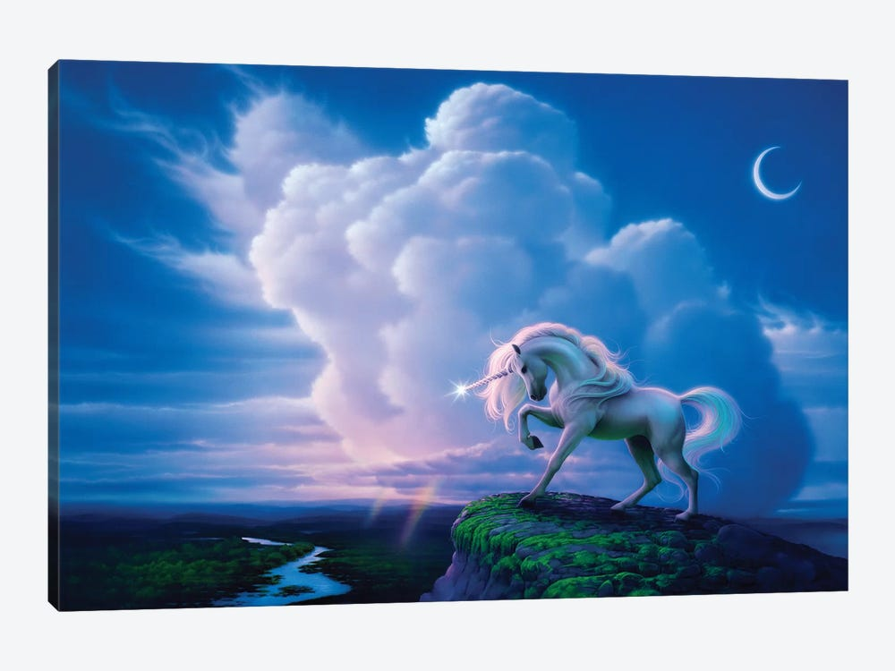 Rainbow Unicorn by Kirk Reinert 1-piece Canvas Artwork