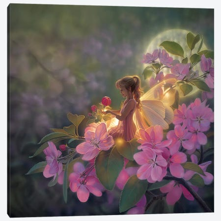 Sakura Moon Canvas Print #KRE90} by Kirk Reinert Canvas Artwork