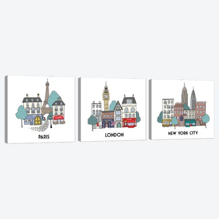 World Cities Triptych Canvas Print Set #KRH3HSET001} by Kristina Hultkrantz Canvas Artwork