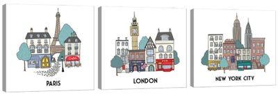 World Cities Triptych Canvas Art Print