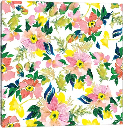 Poppies Peach Pattern Canvas Art Print