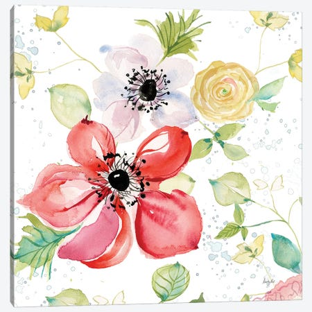 Spray of Anemones II Canvas Print #KRR21} by Kristy Rice Canvas Art