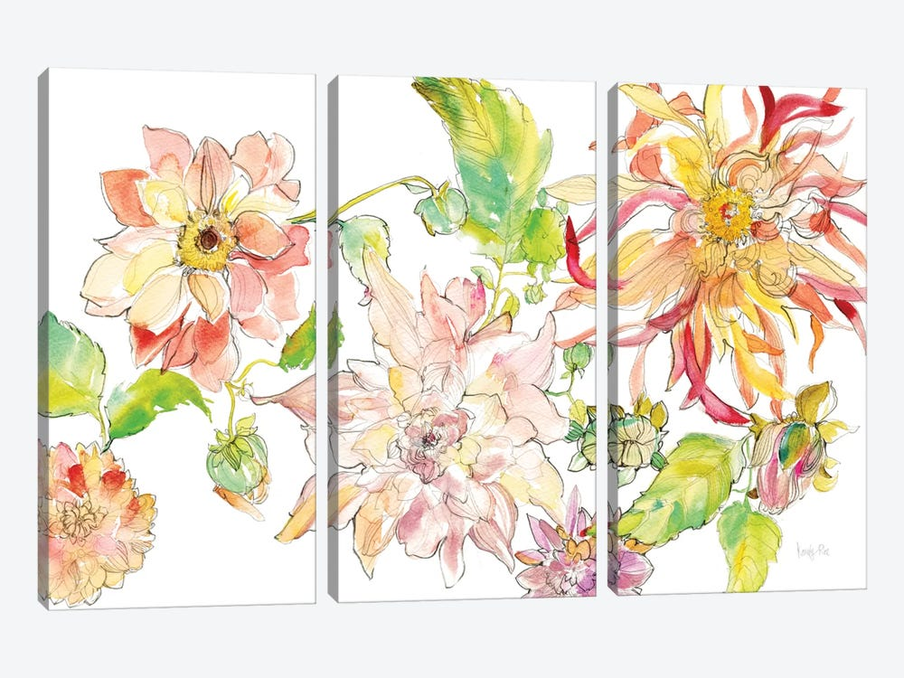 Dahlia Delight of the Day I by Kristy Rice 3-piece Canvas Art