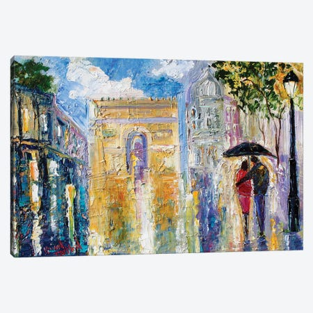 Paris Rainy Romance Canvas Print #KRT107} by Karen Tarlton Canvas Wall Art