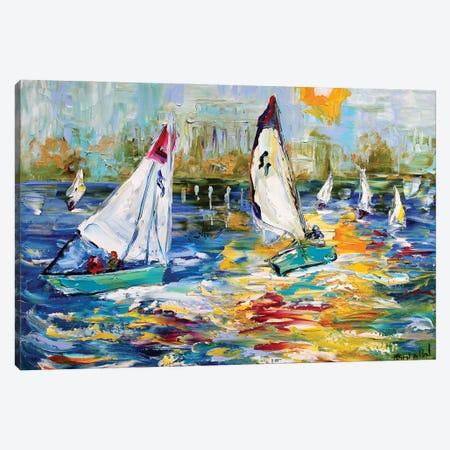Sailboat Race Early Light Canvas Print #KRT130} by Karen Tarlton Canvas Wall Art
