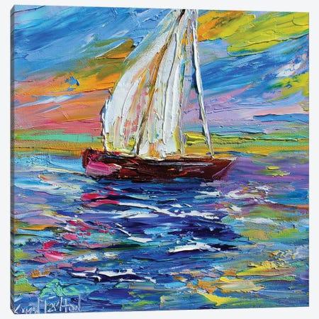 Sailing By Sunset Light Canvas Print #KRT131} by Karen Tarlton Canvas Wall Art