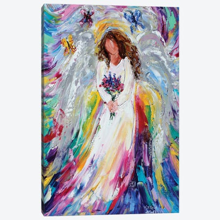 Spring Angel With Wildflowers And Butterflies Canvas Print #KRT141} by Karen Tarlton Canvas Art Print