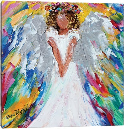 Sweet Angel With Halo Of Flowers Canvas Art Print