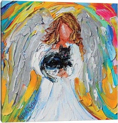 Angel With Cat Canvas Art Print