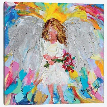 Angel With Flowers Canvas Print #KRT25} by Karen Tarlton Art Print