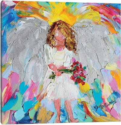 Angel With Flowers Canvas Art Print