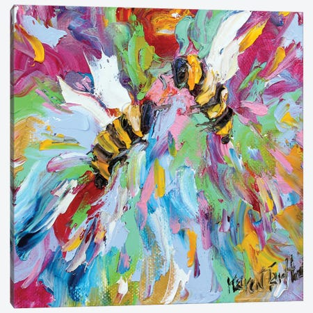 Bee Happy Canvas Print #KRT33} by Karen Tarlton Art Print