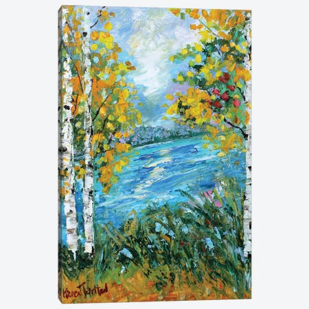 Birch Tree Fall Canvas Print #KRT35} by Karen Tarlton Canvas Art