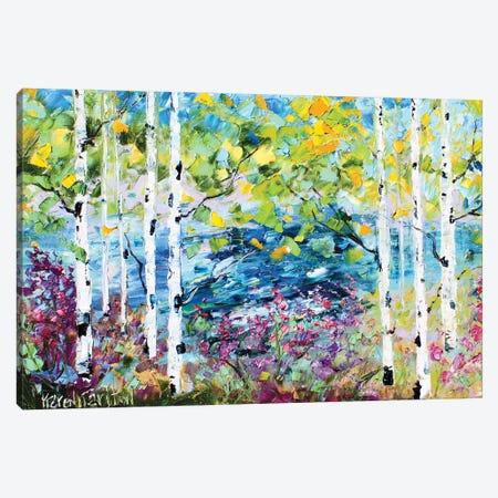 Birch Trees Spring Canvas Print #KRT36} by Karen Tarlton Canvas Artwork