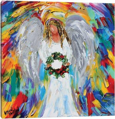 Christmas Angel With Wreath Canvas Art Print