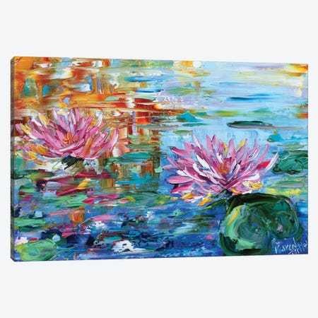 Dancing Light On The Lily Pond Canvas Print #KRT58} by Karen Tarlton Canvas Print