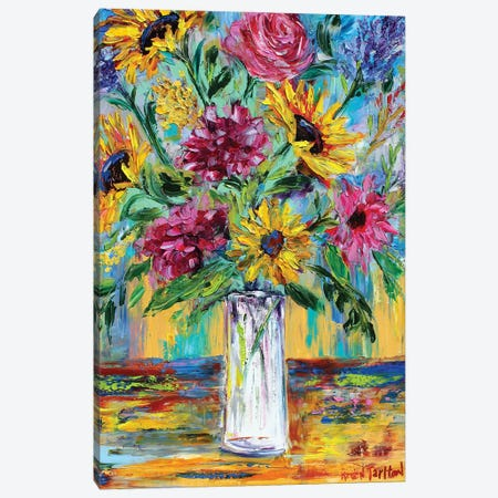 Everyday Flowers Canvas Print #KRT62} by Karen Tarlton Canvas Wall Art