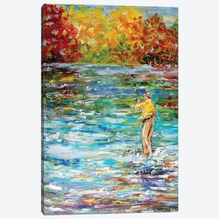 Fly Fishing Canvas Print #KRT65} by Karen Tarlton Canvas Print