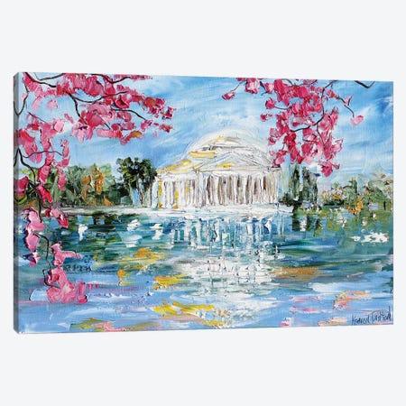 Jefferson Memorial Tital Basin Blossoms In Spring Canvas Print #KRT76} by Karen Tarlton Canvas Art