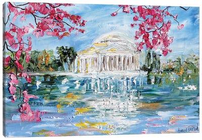 Jefferson Memorial Tital Basin Blossoms In Spring Canvas Art Print