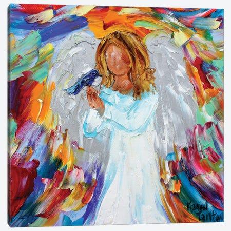 Angel And Bird Canvas Print #KRT7} by Karen Tarlton Canvas Artwork