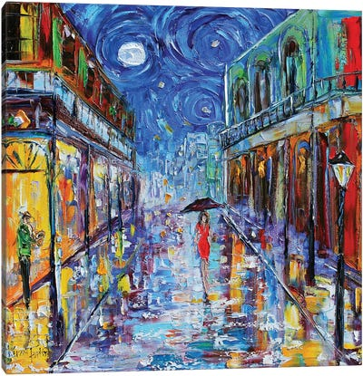 New Orleans French Quarter Moon Canvas Art Print