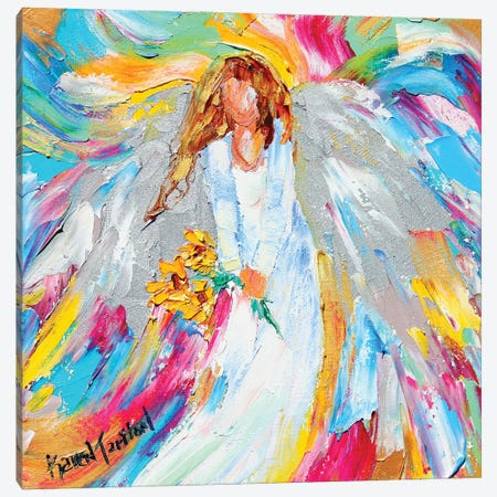 Angel And Sunflowers Canvas Print #KRT9} by Karen Tarlton Art Print
