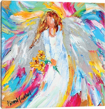 Angel And Sunflowers Canvas Art Print