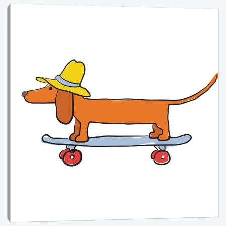 Dachsund On Skateboard Canvas Print #KRU100} by Kris Ruff Canvas Artwork