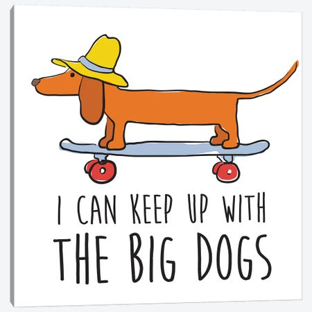 Dachsund With Words Canvas Print #KRU101} by Kris Ruff Canvas Wall Art
