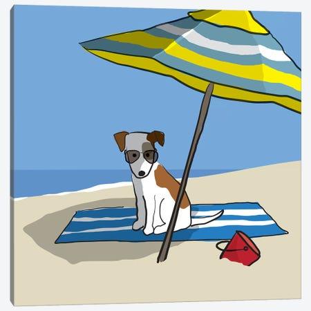 Dog At Beach II Canvas Print #KRU103} by Kris Ruff Canvas Wall Art