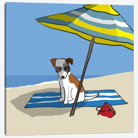 Dog At Beach II Canvas Print #KRU103} by Kris Ruff Canvas Wall Art