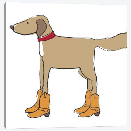 Dog In Cowboy Boots Canvas Print #KRU104} by Kris Ruff Art Print