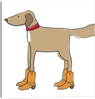 Dog In Cowboy Boots Canvas Art Print