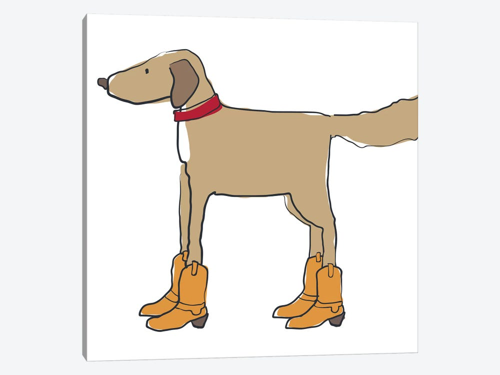 Dog In Cowboy Boots by Kris Ruff 1-piece Canvas Art