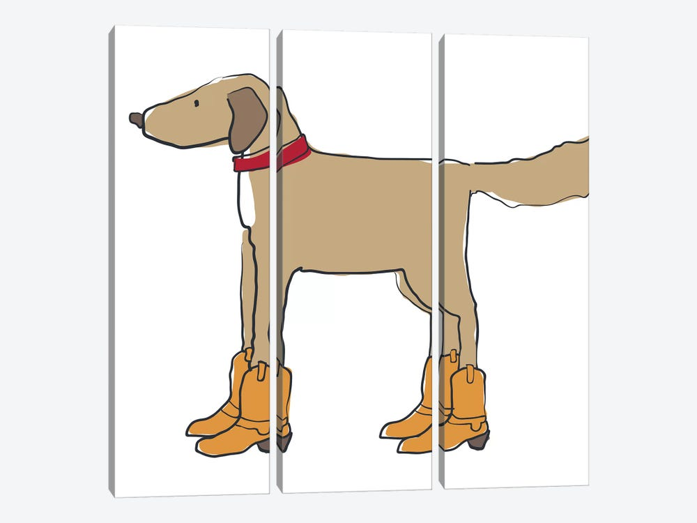 Dog In Cowboy Boots by Kris Ruff 3-piece Canvas Wall Art