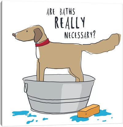 Dog In Tub With Words Canvas Art Print