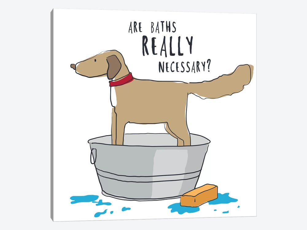 Dog In Tub With Words by Kris Ruff 1-piece Canvas Wall Art