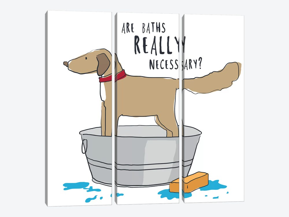 Dog In Tub With Words by Kris Ruff 3-piece Canvas Art