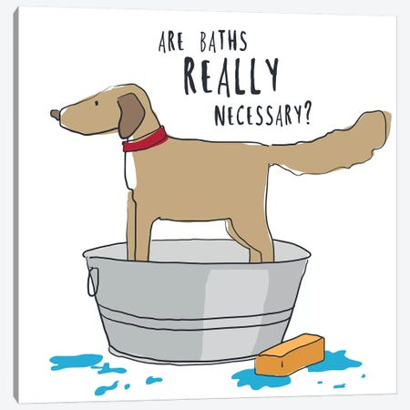 Dog In Tub With Words Canvas Print #KRU106} by Kris Ruff Art Print