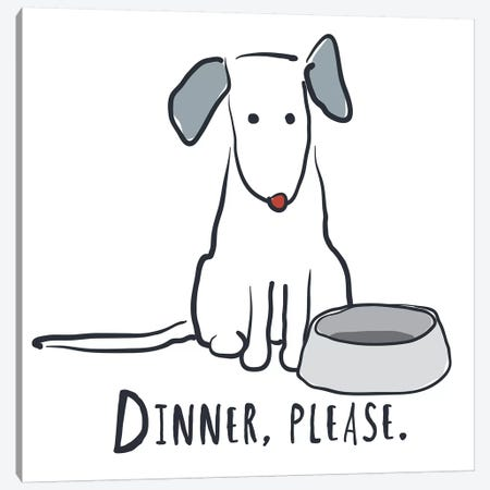 Dog With Dinner Bowl Canvas Print #KRU107} by Kris Ruff Art Print