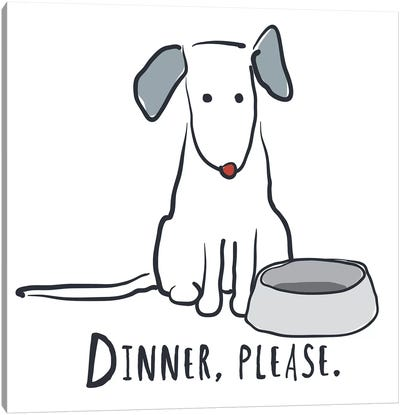 Dog With Dinner Bowl Canvas Art Print