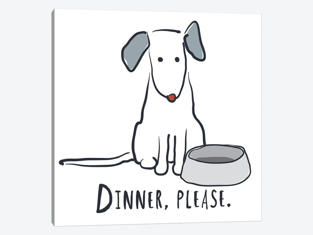 Dog With Dinner Bowl 1-piece Art Print