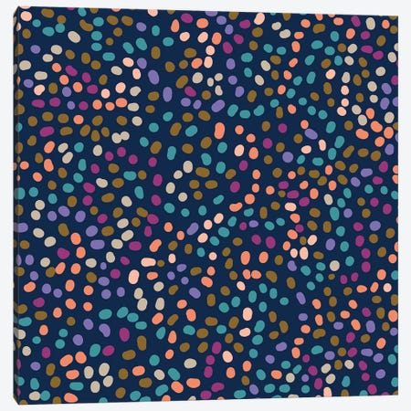 Meandering Dots Navy 3-Piece Canvas #KRU118} by Kris Ruff Canvas Print