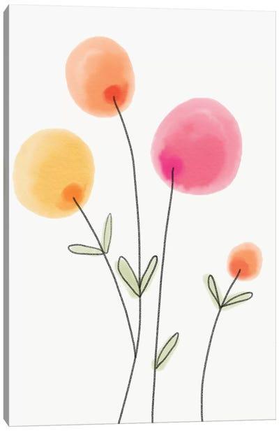 Pompom Flower Watercolor Canvas Art Print