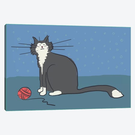 Cat With Yarn Canvas Print #KRU11} by Kris Ruff Canvas Artwork