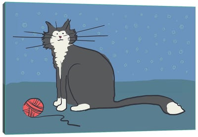 Cat With Yarn Canvas Art Print