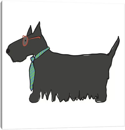Scottie With Glasses Canvas Art Print